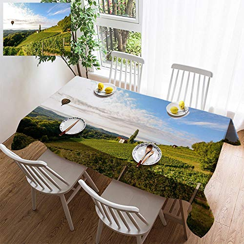 Stylish minimalist linen tablecloth,washable, Vineyards with hot air balloon near a winery before harvest in the tuscany wine decorating restaurant - kitchen school coffee shop rectangular 54×39in