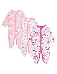 Babe Maps Unisex Baby 3-Pack Snap Front Sleep N Play Footie Pajamas