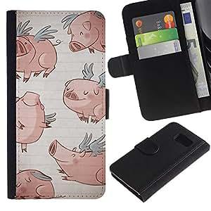 Paccase / Billetera de Cuero Caso del tirón Titular de la tarjeta Carcasa Funda para - pig wings funny cartoon drawing blue - Samsung Galaxy S6 SM-G920
