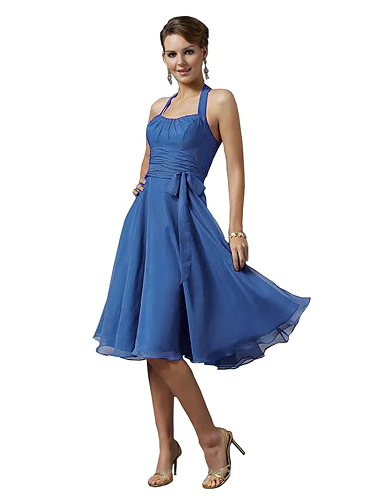 Mori Lee 732 Sweetheart Halter Ruched Knee Length Chiffon Formal Dress (12, Royal Blue) at Amazon Womens Clothing store: