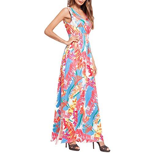 Floral Cou Féminin V Maxi Robe De Soirée Fendue Longue Robe Maxi D'été Rouge