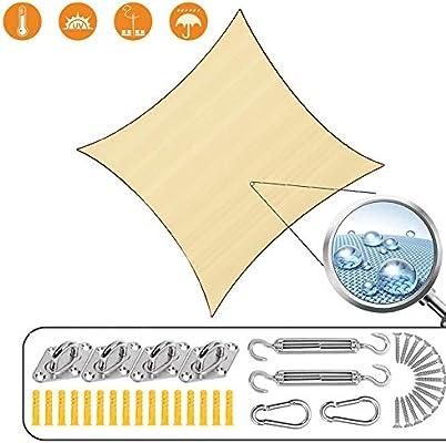 WISKEO Vela de Sombra Toldo Parasol Protección Rayos UV Pergola Protección Solar Terraza Playa Camping Jardín Piscina - Beige 5.5x7m: Amazon.es: Hogar