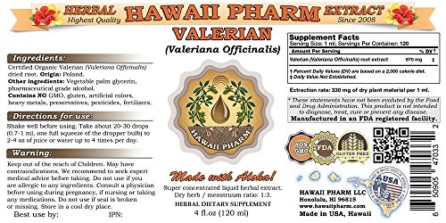 Valerian Liquid Extract, Organic Valerian (Valeriana Officinalis) Dried Root Tincture 2x4 oz by HawaiiPharm (Image #1)