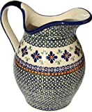 Polish Pottery Pitcher 1.8 Qt. From Zaklady Ceramiczne Boleslawiec #1160-du60 Unikat Pattern, Height: 7.9'' Capacity: 1.8 Qt.