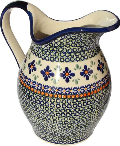 Polish Pottery Pitcher 1.8 Qt. From Zaklady Ceramiczne Boleslawiec #1160-du60 Unikat Pattern, Height: 7.9'' Capacity: 1.8 Qt. by Polish Pottery Market