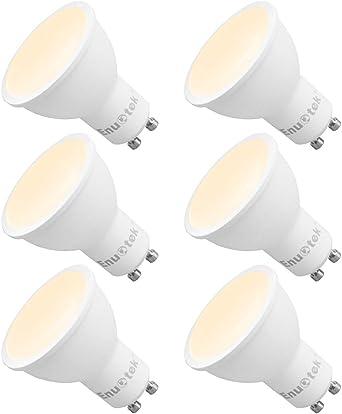 Lamparas Bombillas de LED Casquillo GU10 Regulables 7W 120° Amplio Angulo de Iluminación Luz Calida 3000K Brillo Alto 650Lm 220V para Focos LED Empotrables Pack de 6 de Enuotek: Amazon.es: Iluminación