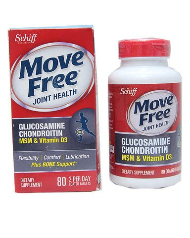 Move Free Glucosamine Chondroitin MSM Vitamin D3 and Hyaluronic Acid Joint Supplement, Limited Quantity Pack of 80 Count (Pack of 3) (4 Count Value Pack)