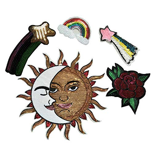 Embroidered Bright Rred Rose/Rainbow/Moon and Sun's Iiron Gold Round Garment Patch DIY Sewing Manual Repair