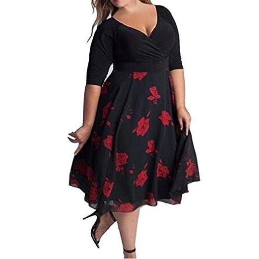 hibote Vestido a media pierna con estampado floral de corte bajo y patchwork para fiesta de tardeles: Amazon.es: Ropa y accesorios