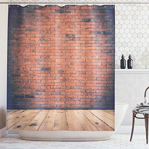 Ambesonne Vintage Decor Collection, Old Fashioned Bricks in Dark Room with Antique Wood Floor Vintage Ancient Retro Room Decor, Polyester Fabric Bathroom Shower Curtain Set with Hooks, Red -