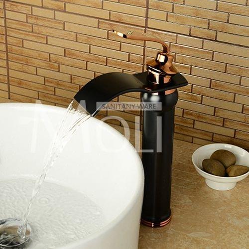 W913bg Jduskfl Faucet Kitchen Faucet Net Faucet Bathroom Faucet Free Shipping pink gold Black Bathroom Faucet Deck Mounted Soild Brass Vessel Sink Waterfall Tap Single Holder Mixer,Rt11W