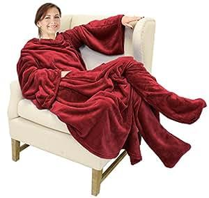 catalonia wearable fleece blanket with sleeves foot pockets for adult women men. Black Bedroom Furniture Sets. Home Design Ideas