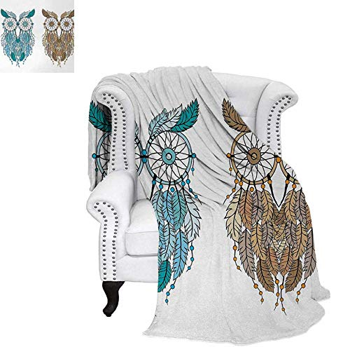 Super Soft Lightweight Blanket Dreamcatcher Style Owl Tribal Ethnic Features Magic Farsighted Birds Artsy Print Oversized Travel Throw Cover Blanket 80