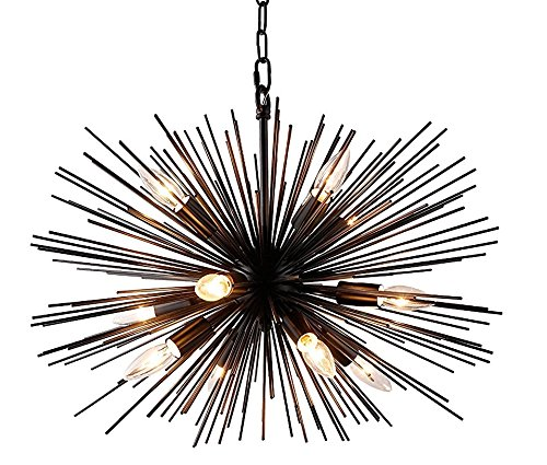 Satellite Fixture - Decomust 24 Inch Astra Sputnik Satellite Pendant Light, Spike Ceiling Light Fixture, Pendant Chandelier (Black)