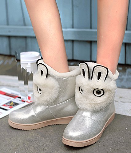 IDIFU Womens Warm Fully Faux Fur Lined Flat Thick Winter Ankle High Snow Booties Silver Jt17vn