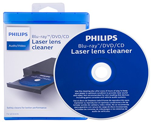 Philips Blu-ray / DVD / CD Laser Lens Cleaning Disc, Cleans for Better Performance, Cleaner Audio and Video, SVC2350/27 Cd / Dvd Cleaning System
