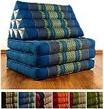 Thaikissen mit 3 Auflagen Marke LivAsia®, Kapok Dreieckskissen, asiatisches Sitzkissen, Liegematte, Thaimatte (hellblau)