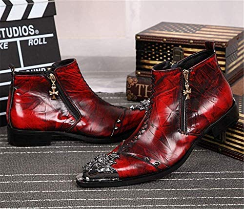 QZMX Shoes Uomo Stivali Cowboy Biker in Pelle Stivaletti