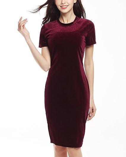 Vestidos Verano Mujer Elegantes Manga Corta Cuello Redondo Vestido Ajustado Vestido Sencillos Especial De Lápiz Color