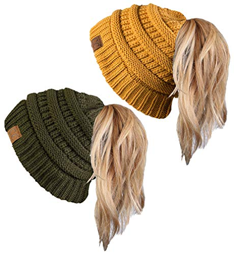 (BT-6020a-2-3372 Messy Bun Beanie Tail Bundle - 1 Olive, 1 Mustard (2 Pack))