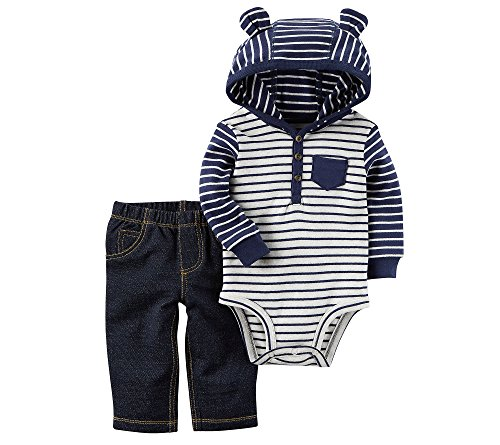 Carter's Baby Boys' 2 Piece Hooded Bodysuit Pants Set 6 Months