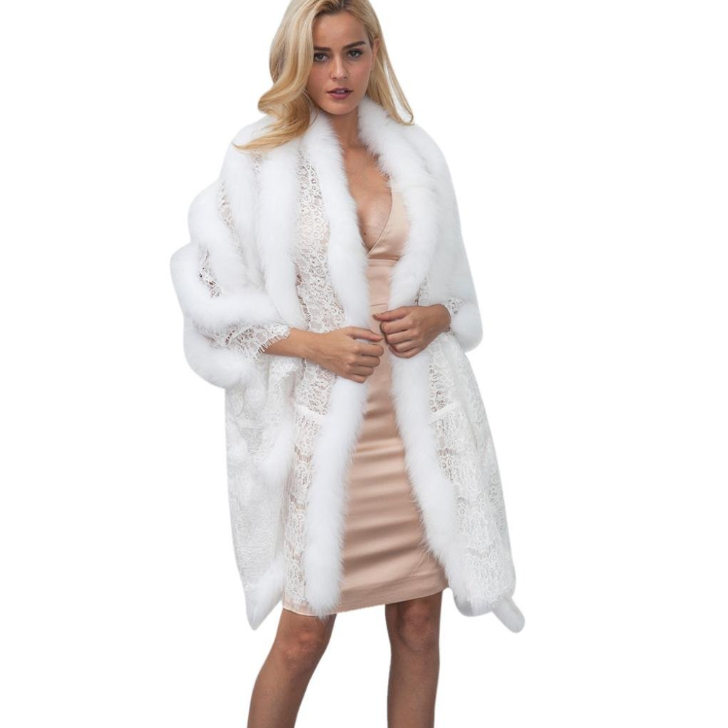 New Ladies Womens Lace Warm Faux Fur Coat Shawl Winter Parka Wrap (white)