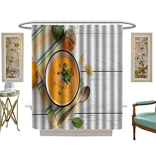 luvoluxhome Shower Curtains Sets Bathroom Pumpkin Soup on White Wooden Background Bathroom Decor Set with Hooks W54 x L78
