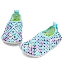 RANLY & SMILY Grils Water Shoes Beach Aqua Swim Pool Park Socks for Kids Toddler Boys Aqua/Mermaid Scales 8.5-9 M US Toddler