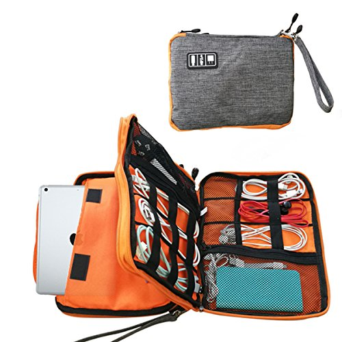 Double layer-Electronic Travel Organizer,Travel Universal Cable Organizer Electronics Accessories Cases/USB Cable Organizer Bag (grey)