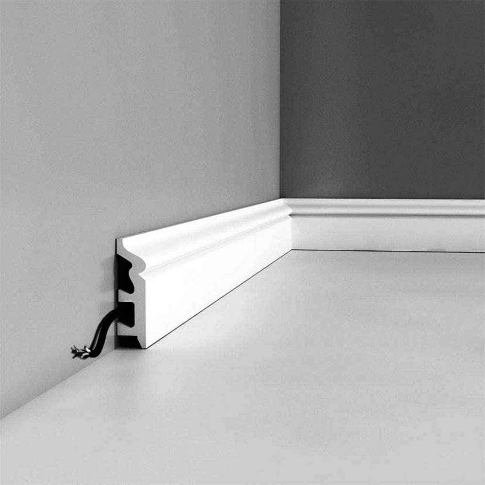 Orac Decor | High Impact Polystyrene Baseboard Moulding | Primed White | 3-1/8in H x 78in Long
