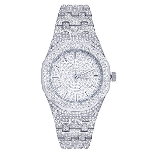 Techno Pave Bling Men's Fashion Silver Plated Iced CZ Metal Band Watches WM 8651 S (Ap Watch With Diamonds)