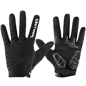 KUTOOK Mountain Bike Gloves, Gel Padded Cycling Gloves Full Finger Touch Screen Black Large