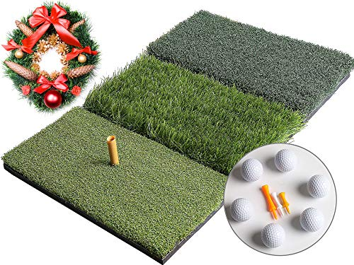 Golf 3-in-1 Turf Grass Mat Includes 6 golf balls and 1 Rubber Tee 3 Plastic Tees with Golf Tees ,Tight Lie, Rough and Fairway for Driving, Chipping, and Putting Golf practice and Training - 25x16in.