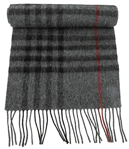100% Virgin Wool Scarf for Women, Solids, Plaids, Warm Soft Luxurious by CANDOR AND CLASS (Dk Grey Single Plaid)