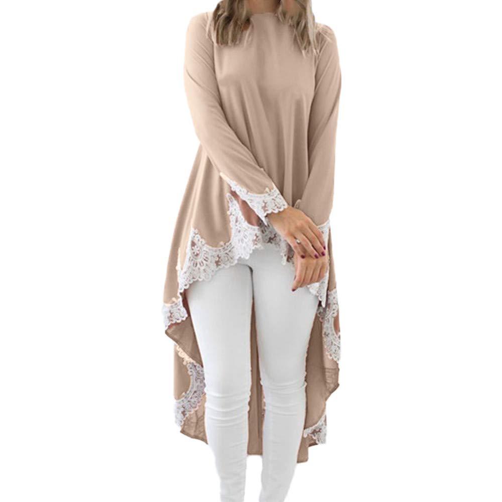 ZIYOU Damen Langarm Blusen Kleider Elegante, Mode Rundhals T Shirts O-Ausschnitt Pullover mit Spitze Unregelmäßigen Saum