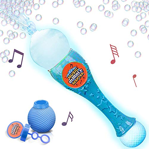 - ArtCreativity Light Up Musicale Bubble Blower Wand 13.5 Illuminating Bubble Blower Wand w/ Thrilling LED and Music Sound Effect for Kids, Bubble Fluid - Batteries Included | Gift Idea/Party Favors