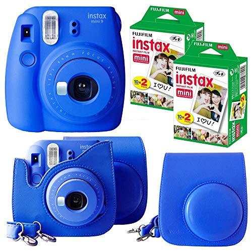Fujifilm Instax Mini 9 Instant Camera (Cobalt Blue) + Bundle with Fuji INSTAX Instant Film Twin Packs X 2 (40 Sheets) + Groovy Camera Case (Cobalt Blue)