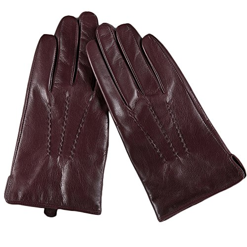 Magelier Men's Warmth Multifunction Driving Lambskin Leather Gloves, Claret (Detail Lamb Leather)