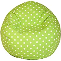 Majestic Home Goods Classic Bean Bag Chair - Tiny Polka Dots Giant Classic Bean Bags for Adults and Kids (28 x 28 x 22 Inches) (Lime Green)