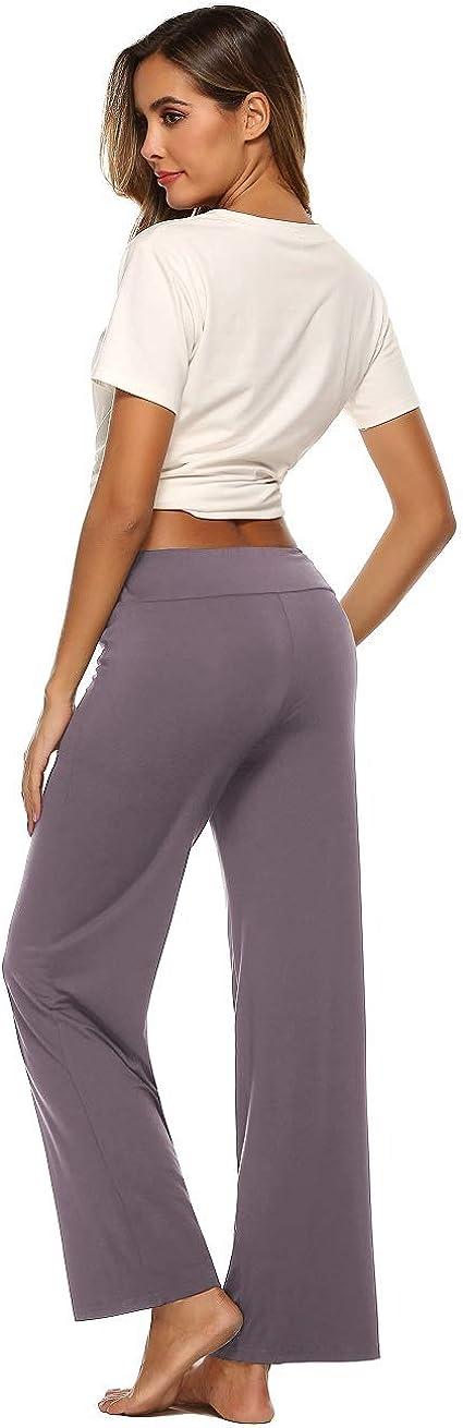 Samring Pajama Pants for Women High Waist Yoga Pants Drawstring Palazzo Lounge Pants Wide Leg Sleep Bottoms S-XXL