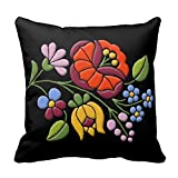 "Kalocsa Embroidery Hungarian Folk Art R68b8173214bb46d7b2e5a0b694844b8d I5fqz 8byvr Pillow Case 18"" * 18"""
