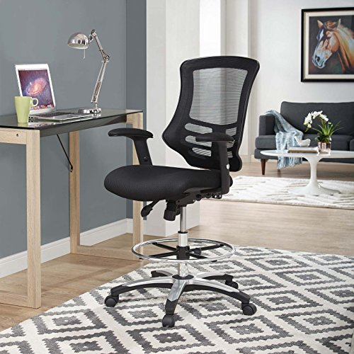 Modway Calibrate Mesh Drafting – Reception Desk Chair – Tall Office Chair in Black