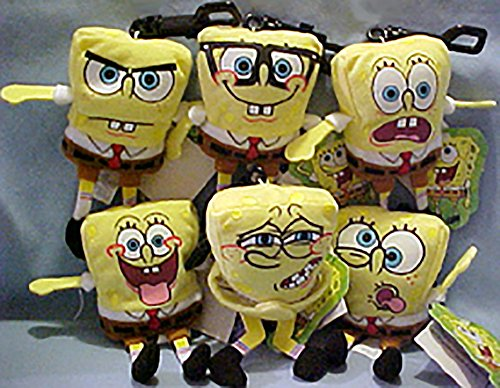 Nickelodeon's The Many Faces of SpongeBob Set of 6 Plush Backpack Clip Ons
