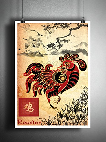 Chinese zodiak Rooster art print, Sumi E ink asian decor, chicken ()