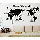 Creative modern World Map Removable sticker wall decal Bedroom Living room Study Office decoration mm