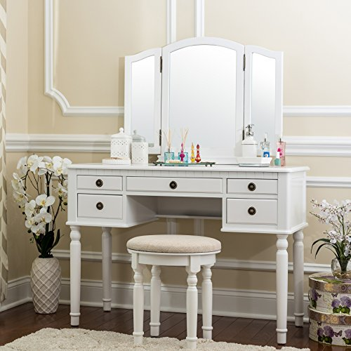 Fineboard Dressing Set with Stool, Beauty Station Makeup Table, Three Mirror Vanity Set, 5 Organization Drawers