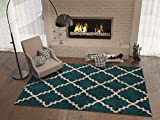 Dark Blue 3×5 ( 3'3″ x 4'7″ ) Area Rug Trellis Morrocan Modern Geometric Wavy Lines Area Rug Living Dining Room Bedroom Resistant Carpet Contemproary Soft Plush Quality Review