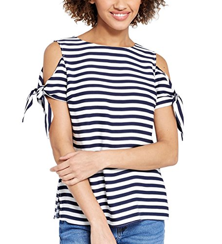 Blooming Jelly Women's Tie Sleeve Side Split Cold Shoulder Striped T-Shirt Top hot sale