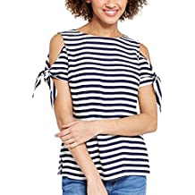 Blooming Jelly Women's Tie Sleeve Side Split Cold Shoulder Striped T-Shirt Top