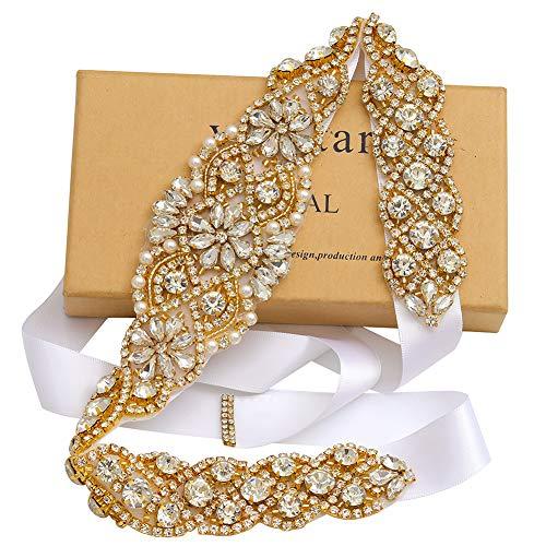 Yanstar Handmade Gold Rhinestone Wedding Bridal Belt Sash with White Ribbon For Wedding Dress And Gown